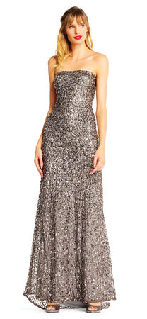 Strapless Sequin Beaded Dress with Train