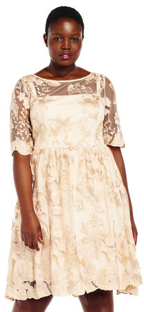 Embroidered Party Dress with Sheer Elbow Sleeves