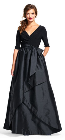 Three Quarter Sleeve Wrap Dress with Taffeta Ball Skirt