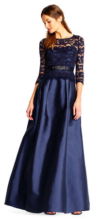 Lace and Taffeta Gown with Sheer Three Quarter Length Sleeves