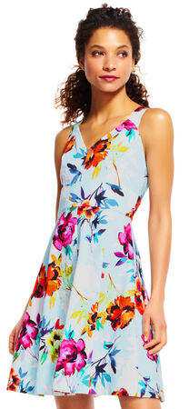 Floral Fit and Flare Dress with Criss Cross Back