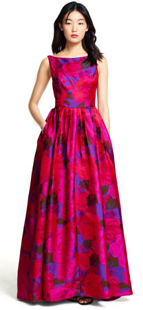 Sleeveless Floral Ball Gown with Full Skirt
