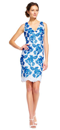 Floral Lace Sheath Dress with Scalloped Hem