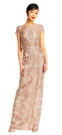 Popover Metallic Lace Column Dress with Sheer Details