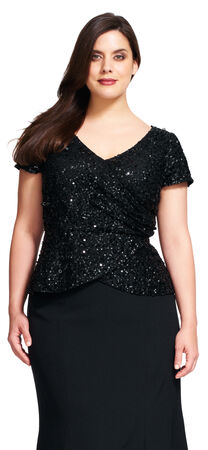 Beaded V-Neck Wrap Top with Cap Sleeves