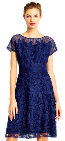 Havana Gardens Lace A-Line Dress with Sheer Short Sleeves