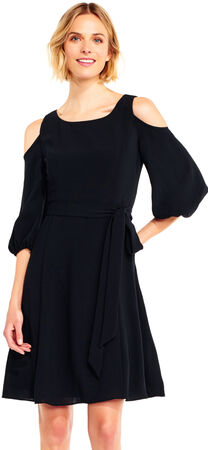 Three Quarter Sleeve Crepe Shift Dress with Cold Shoulder Cutouts