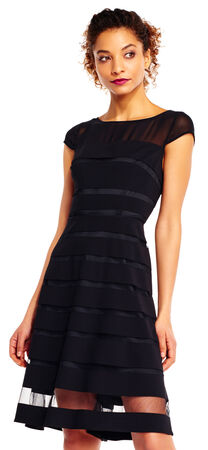 Sheer Banded Chiffon Fit and Flare Dress with Cap Sleeves