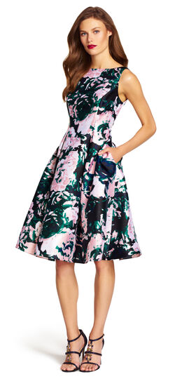 Mikado Sleeveless Fit and Flare Dress
