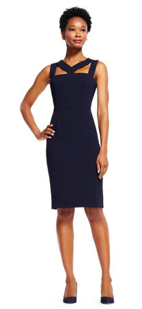 Sheath Dress with Cut Out Neck