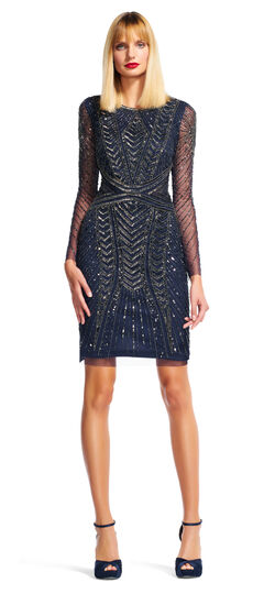Chevron Beaded Cocktail Dress with Long Sleeves