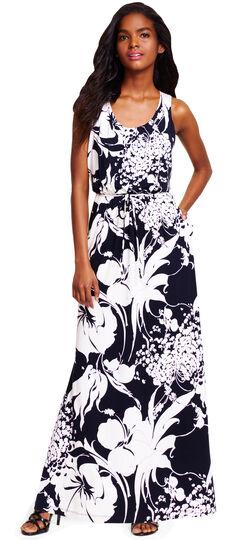 Scoop Neck Floral Print Maxi Dress