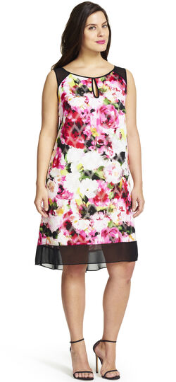 Sleeveless Floral Printed Swing Dress with Netting Details