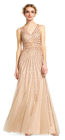 Starburst Beaded Dress with Illusion Waist and V-Neck