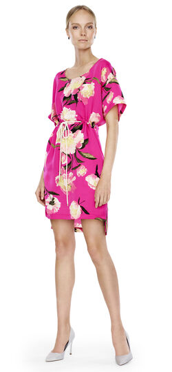 Drawstring Floral Dress
