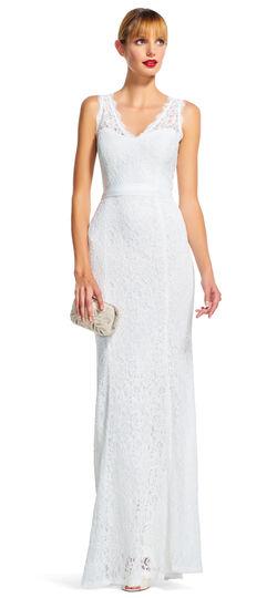 V-Neck Sleeveless Lace Dress with Mermaid Skirt