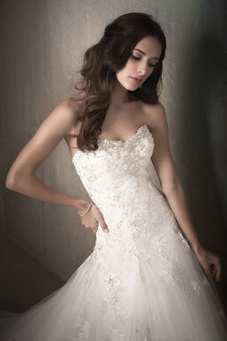 Beaded Lace Applique A-Line Tulle Wedding Dress - 31022