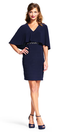 Banded Cape Dress with Stud Accent Waist