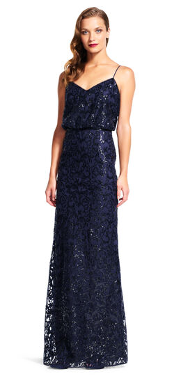 Blouson Mermaid Dress with Sequin Scroll Embroidery