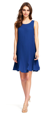 Pleated Shift Dress with Ruffle Hem