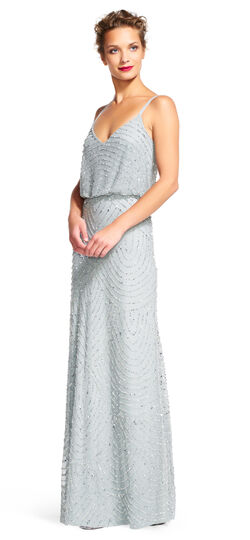 1920s Downton Abbey Dresses Art Deco Beaded Blouson Gown $260.00 AT vintagedancer.com