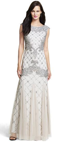 Fully Beaded Sleeveless Godet Gown
