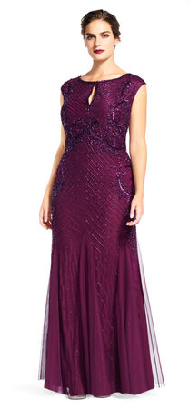 Sequin Beaded Mermaid Gown with Keyhole Neck