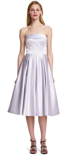 Strapless Satin Mid Length Party Dress with Bow Back Detail