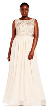 Sleeveless Dress with Geometric Beaded Bodice