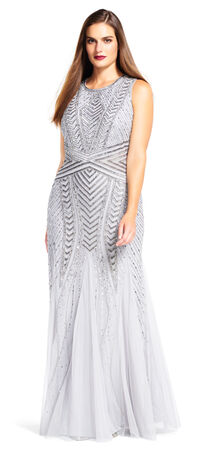 Sleeveless Chevron Beaded Gown with Godet Skirt