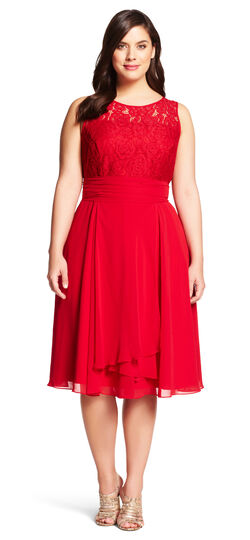 Lace & Chiffon Fit & Flare Dress