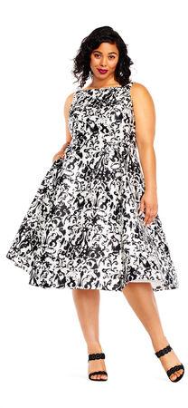 Sleeveless Mikado Printed Party Dress