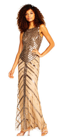 Sequin Beaded Chevron Halter Gown with Scoop Back