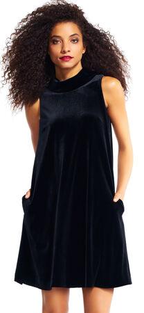Mock Neck Sleeveless Velvet Shift Dress