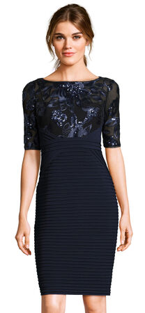 Floral Sequin Pleated Sheath Dress with Sheer Elbow Sleeves
