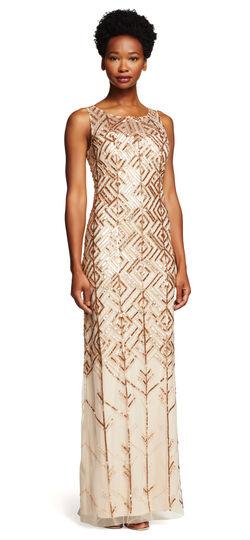 Sleeveless Fully Beaded Column Gown