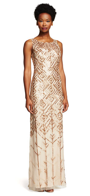 Sleeveless Fully Beaded Column Gown $349.00 AT vintagedancer.com