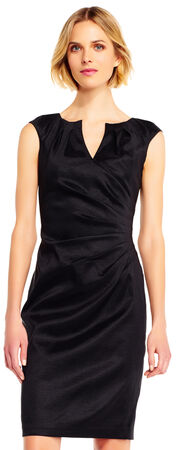 Draped Sheath Dress with Split Neckline and Cap Sleeves