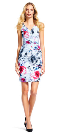 Sleeveless Floral Print Sheath Dress with V-Neck