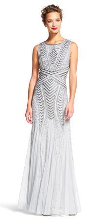Sleeveless Chevron Beaded Gown with Godet Skirt