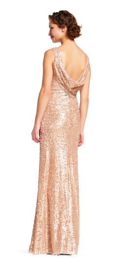 Vintage Evening Dresses Sequin Halter Dress with Cowl Back $99.99 AT vintagedancer.com