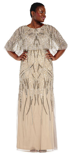 1920s Plus Size Dresses Beaded Cape Dress with Sheer Accents $399.00 AT vintagedancer.com