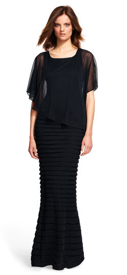 Banded Evening Gown with Sheer Overlay