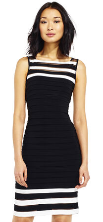 Stripe Banded Sheath Dress with Sheer Details