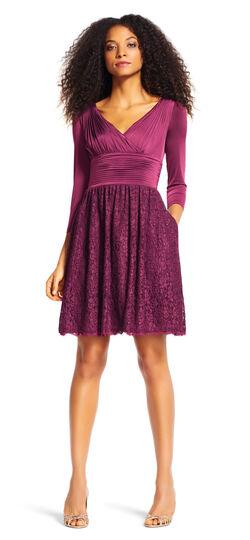 Three Quarter Sleeve Draped Dress with Lace Skirt
