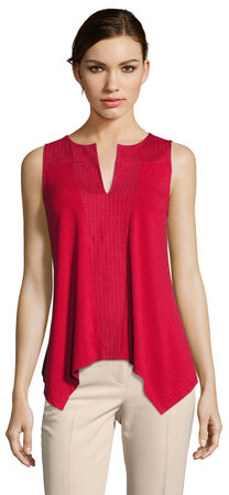 Embroidered Tank Top with Keyhole Neckline