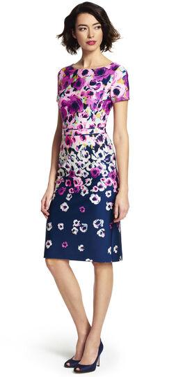 Painted Floral Cutout Back Dress