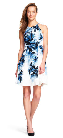 Painted Palms Fit and Flare Halter Dress