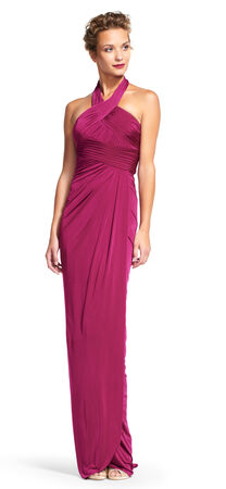 Draped Halter Dress with Open Cutout Back