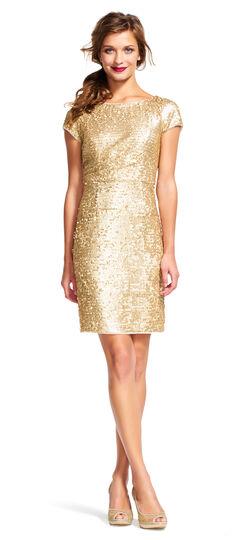 Short Sleeve Sequin Cocktail Dress